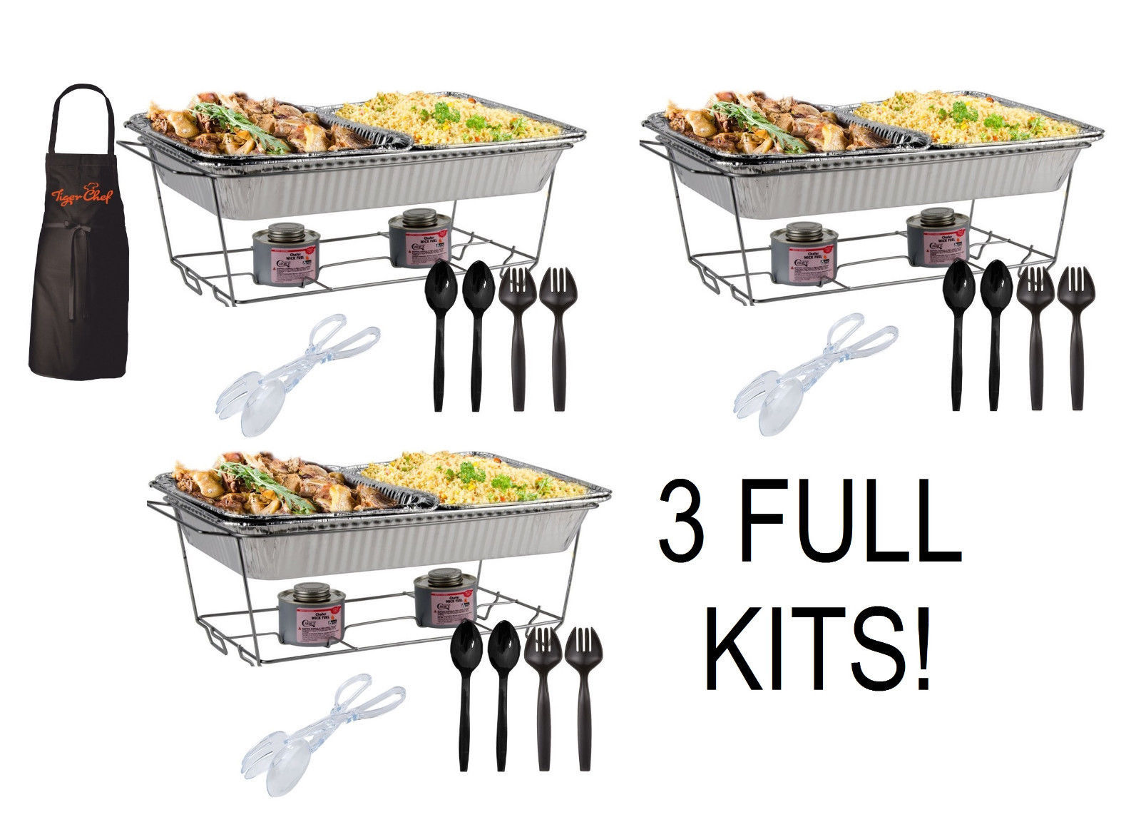 3 FULL CHAFER KITS Buffet Chafer Serving Food Warmers 34 pieces FREE SHIP !