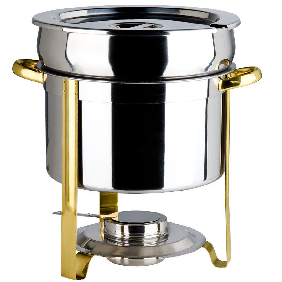 New HUGE  Deluxe 11 Qt. Gold Accent Marmite Chafer KIT ! Lowest total Price!