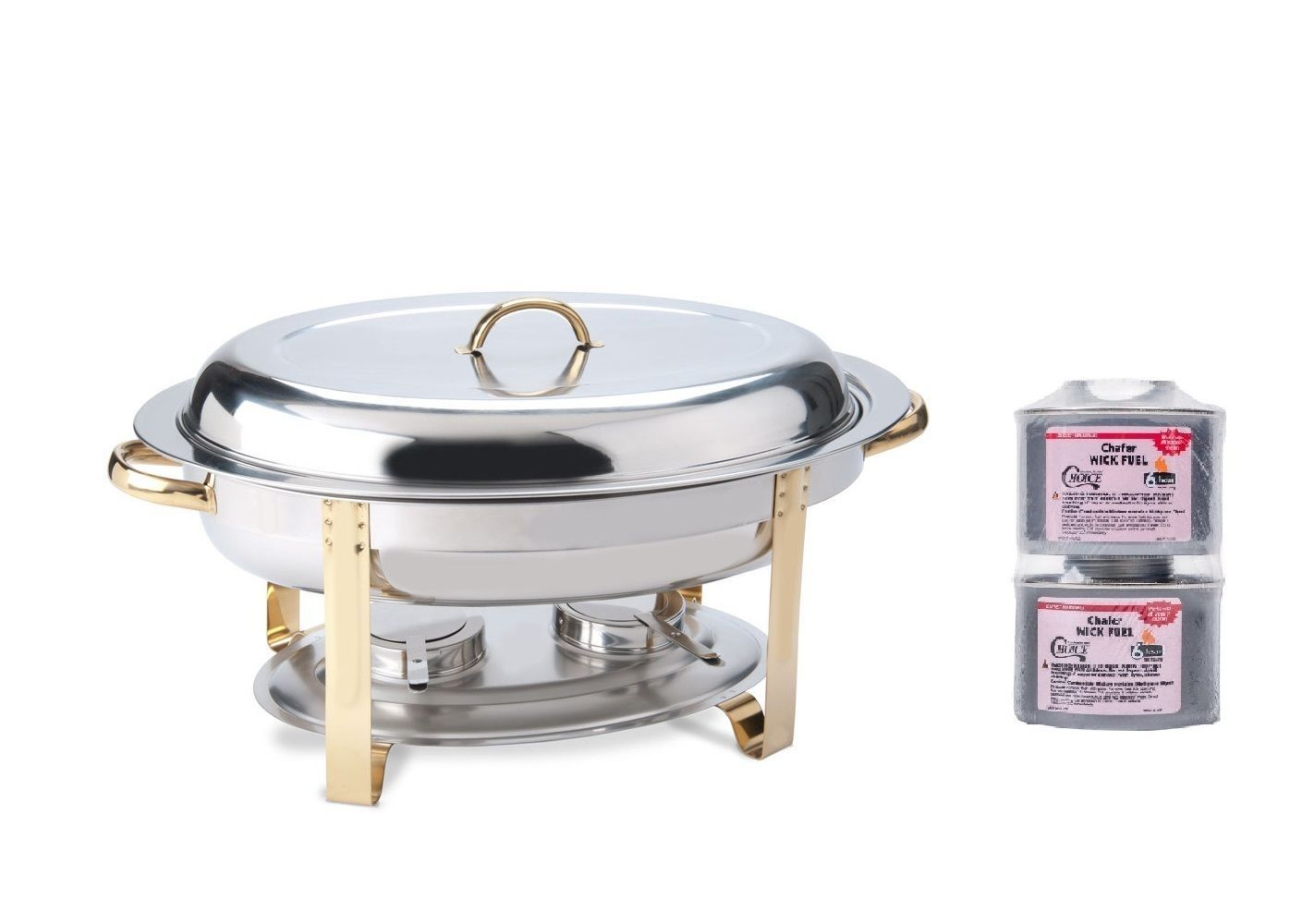 New  Deluxe 6 Qt. Oval Gold Accent Chafer Chafing Set Lowest $ Guarantee Bonus