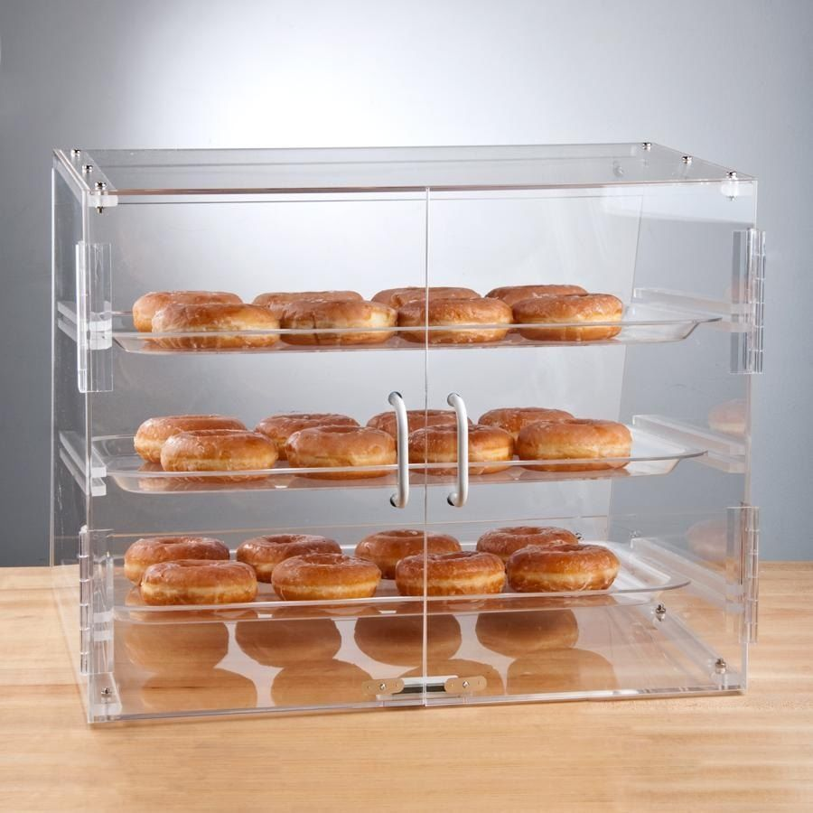 PASTRY SELF SERVE DISPLAY CASE 3 TRAYS BAKERY DELI CONVENIENCE STORE CANDY MOVIE