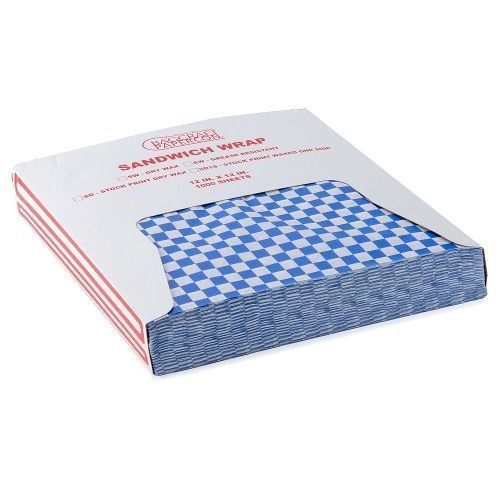 "12"" x 12"" BLUE RED BLACK GREEN Check Deli Sandwich Wrap Paper 1000 pieces Case"