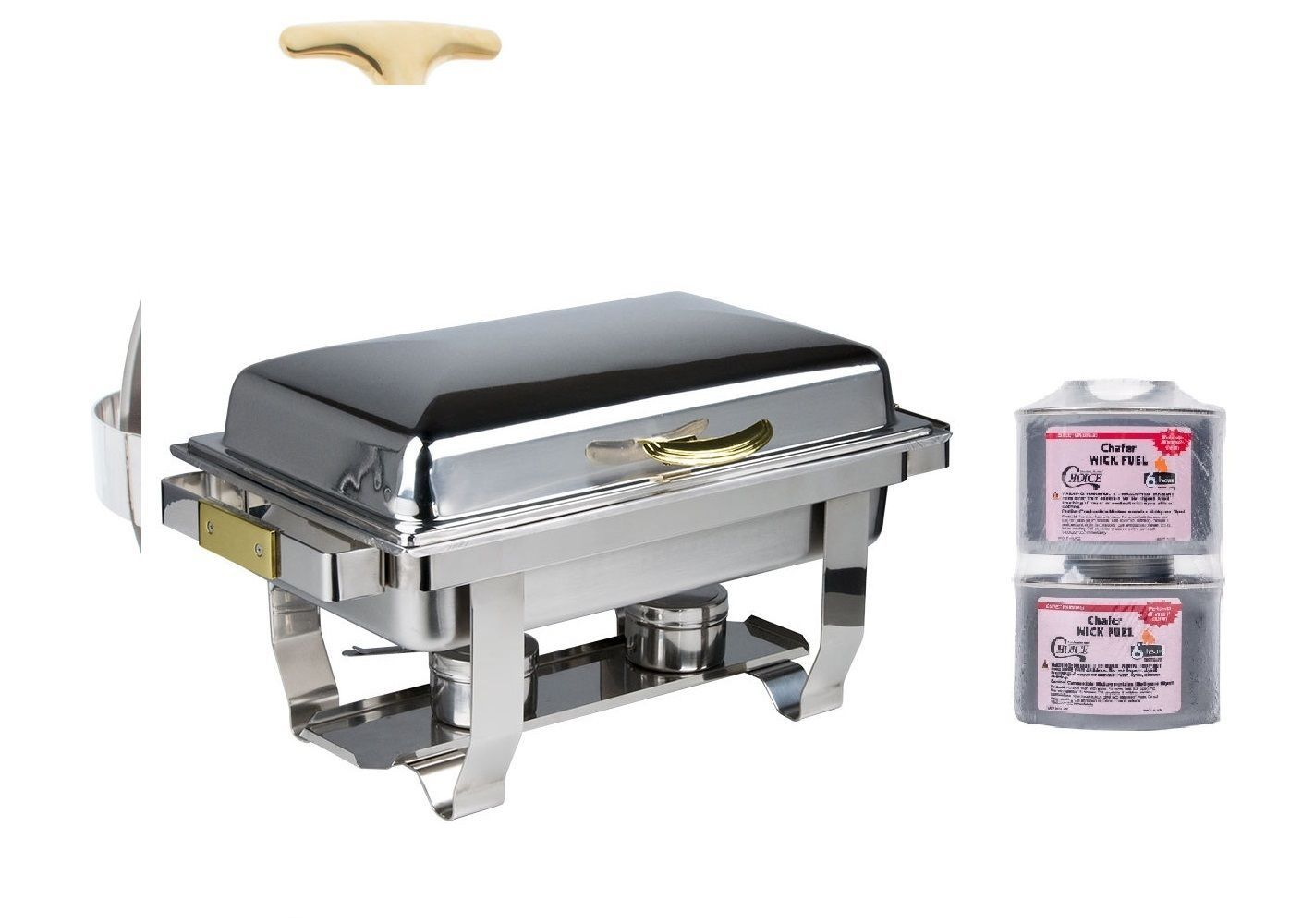 NEW Deluxe 9 Qt. Full Size Hinged Top Gold Accent Chafer LowEST $  free Bonus!
