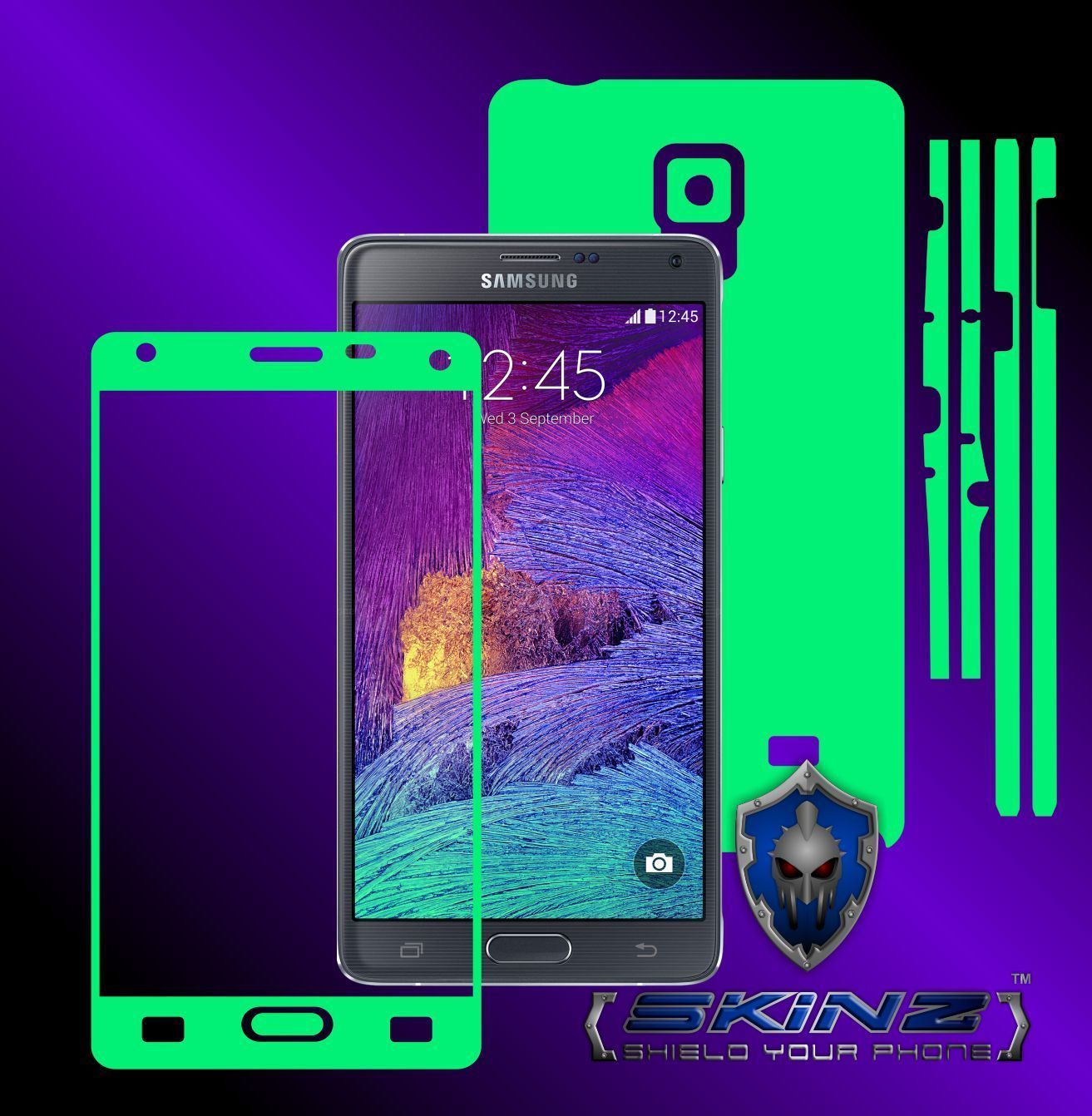 Samsung Galaxy Note 4 - Glow in the Dark Skin, Full Body Case Cover Protector