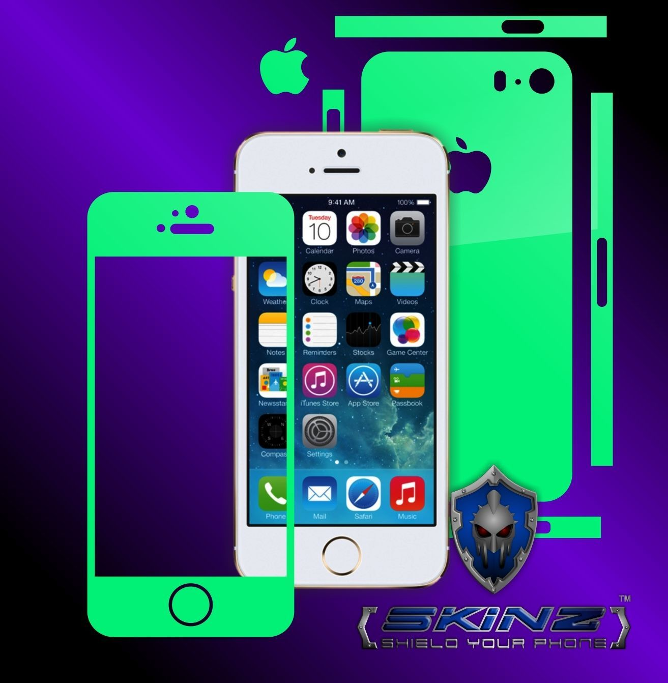 Apple Iphone 5S / SE - Glow in the Dark Skin, Full Body Case Cover Protector