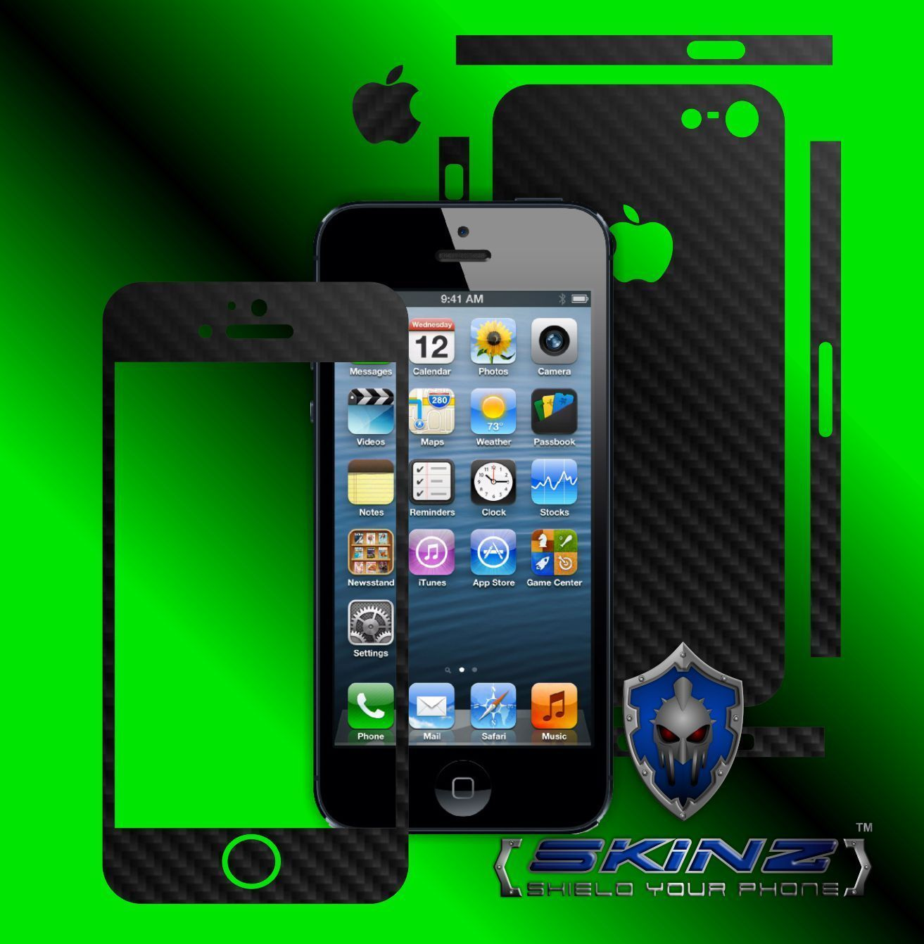 Apple iPhone 5 - Carbon Skin, Full Body Case Cover Protector, Decal Wrap