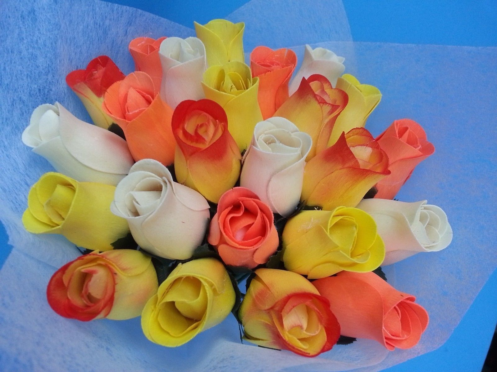 2 Dozen Wooden roses bouquet(White + Orange)-- Special Gift for Her w/ Free Bear