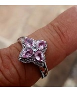 Pink Sapphire Womens Flower Ring set in 925 Sterling Silver NEW RRP £255 - $139.04