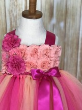 Fuchsia, Peach & Coral Tutu, Fuchsia Flower Girl Dress, Hot Pink Tutu Dress - $50.00+