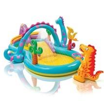 Inflatable Intex Baby Pool Slide Dinosaurs Play Center Happy Birthday Fu... - $72.66