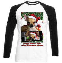 Chihuahua Ginger Christmas Selfie - New Black Sleeved Baseball Cotton Tshirt - $27.47