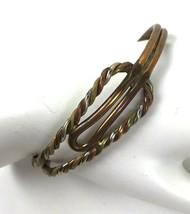 Vintage Tri-Color Bangle Bracelet India Brass Silver Copper Tone Twisted... - $29.69