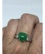 Vintage Green Jade Heart Ring Silver Rhodium Size 8 - $54.45