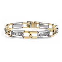 1.00 Carat Mens Round Cut Diamond Bracelet 14K Two Tone Gold - $2,032.47