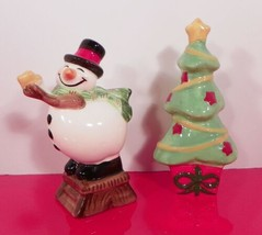 Fitz and Floyd HOLIDAY HOME Christmas Tree Snowman Salt and Pepper Shaker Set - $24.70