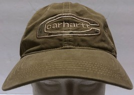 Carhartt Tan C Camo Logo Adjustable Strap Hat Construction Truck Driving... - $28.40