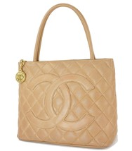 a3ed6e70eb8150 Auth CHANEL Beige Quilted Caviar Leather CC Medallion Tote Bag Purse #32590  - $945.00