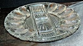Heavy Etched Cut Glass Egg Plate AA20-CD0053 Vintage image 4