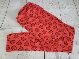 LulaRoe Leggings One Size Digital Red Valentine Hearts Tall and Curvy Stretch  - $11.88