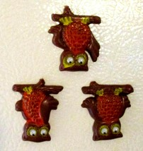 CUTE! 1970's Retro Vintage Wise Owls Rolling Eyes Orange Brown Yellow Magnets image 2