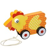 Toddler Toys, Wooden Wonders Plaid Hen Funny Cute Push Pull Toy, Yellow - $19.99