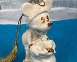 Vintage Lenox Disney Mickey Mouse HO HO HO White Gold Tone Christmas Ornament