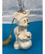 Vintage Lenox Disney Mickey Mouse HO HO HO White Gold Tone Christmas Orn... - $20.94