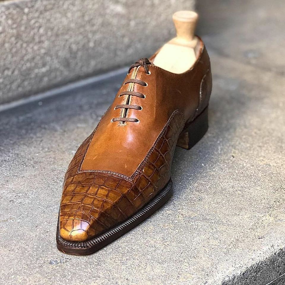 Primary image for Handmade Men's Crocodile Oxfords Leather Dress Shoes Custom Made Formal Shoes
