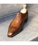 Handmade Men's Crocodile Oxfords Leather Dress Shoes Custom Made Formal ... - $179.99+