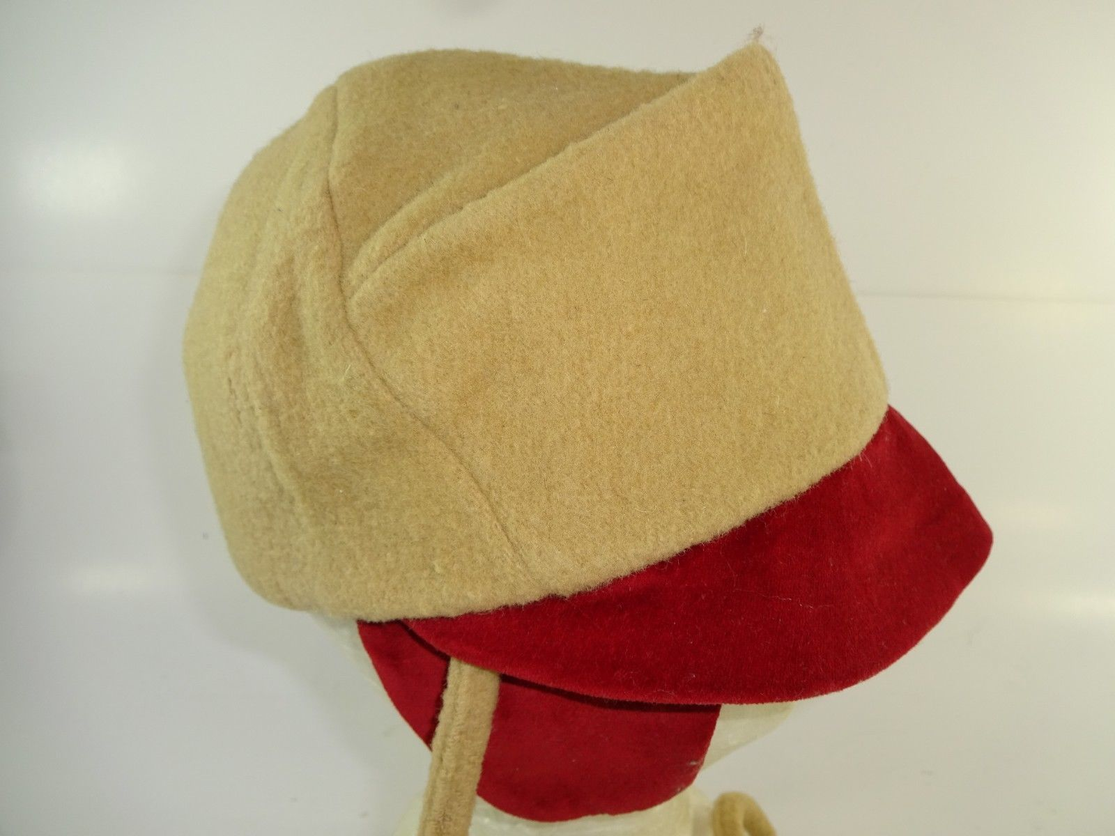 Vintage Rothschild Tan Red Wool Toddler Baby Bonnet Hat w/ Ear Covers & Chin Tie