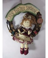 """Hand Crafted Large 13"""" Stitch Together Sunshine Door or Wall Hanging Wreath - $34.64"""