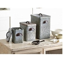 Mud Pie 4935002 Galvanized Tin Farmhouse Canister Set, One Size, Silver - $72.93