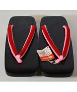 "Original 9"" Japanese Wooden Flat Shoes Geisha Geta Lacquered Sandals Clogs - $23.74"