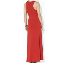 RALPH LAUREN Red Stretch Viscose Jersey Knit Macrame Neck Maxi Dress L image 2