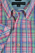 Tommy Hilfiger Men's Pink Blue & Green Plaid Cotton Casual Shirt S Small - $19.12