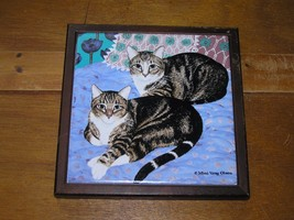 Used Mimi Vang Olson Signed Two Gray Tabby Kitty Cats Lying on Bed Tile ... - $8.59