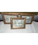 VINTAGE VICTORIAN TEA CUPS/SAUCERS PICTURES ORNATE GOLD WOOD FRAMES SET ... - $24.70