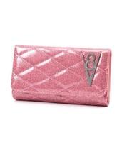 Lux De Ville Hot Rod V8 Pink Bubbly Glitzer Rockabilly Clutch Portemonnaie - $51.92