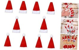 Cute Mini Christmas Santa Hat Cup Bottles Candy Cover Accessories Chris... - $10.79