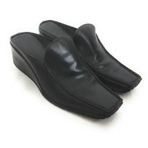 Franco Sarto Women's Size 9.5 Black Leather Square Toe Wedge Mules - $29.70