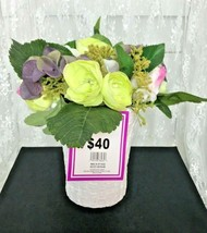 Beautiful Tall Faux Flower Arrangement in Ceramic Basket Weave Container  - $18.79