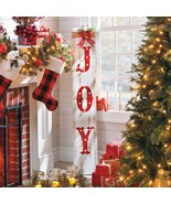 Festive 5- Ft. JOY Pre Lit Wooden Sign Burlap Bow/Bells Christmas Indoor... - $167.19