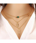 Women Multilayer Chain Statement Necklace Gold Eye Father Cross - $10.99