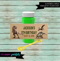 Dinosaur T-Rex Birthday Party 4 oz. Bubble Labels Wrappers Favors Favor ... - $3.50