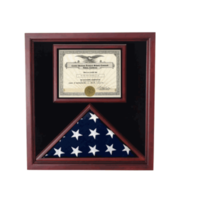 EXTRA LARGE AWARD AND FLAG MILITARY DISPLAY CASE SHADOW BOX MOUNTABLE - $721.99