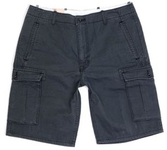 NEW LEVI'S MEN'S PREMIUM COTTON RELAXED FIT CARGO SHORTS CHARCOAL 124630177 image 2