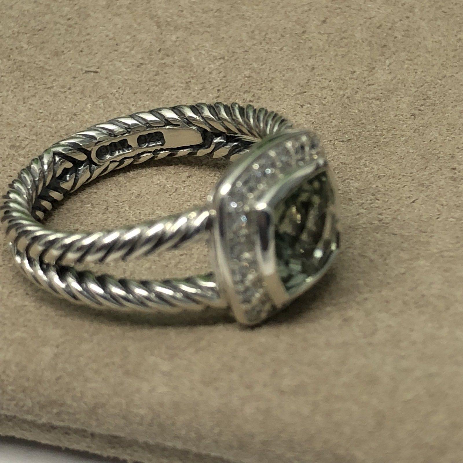 David Yurman Petite Albion Ring With Prasiolite and Diamonds Size 6
