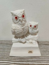Pair of Vintage Carved Alabaster White Owls Figurine. Made in Italy. C12 - $12.21