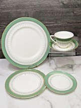 Royal Worcester Regency GREEN 5 Pcs Place Setting Dinner Salad Bread Cup Saucer - $33.66