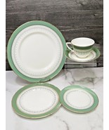 Royal Worcester Regency GREEN 5 Pcs Place Setting Dinner Salad Bread Cup... - $33.66