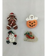 Holiday Theme Brooch Pin Lot Snowman Ghost Sleigh Gingerbread - $12.95